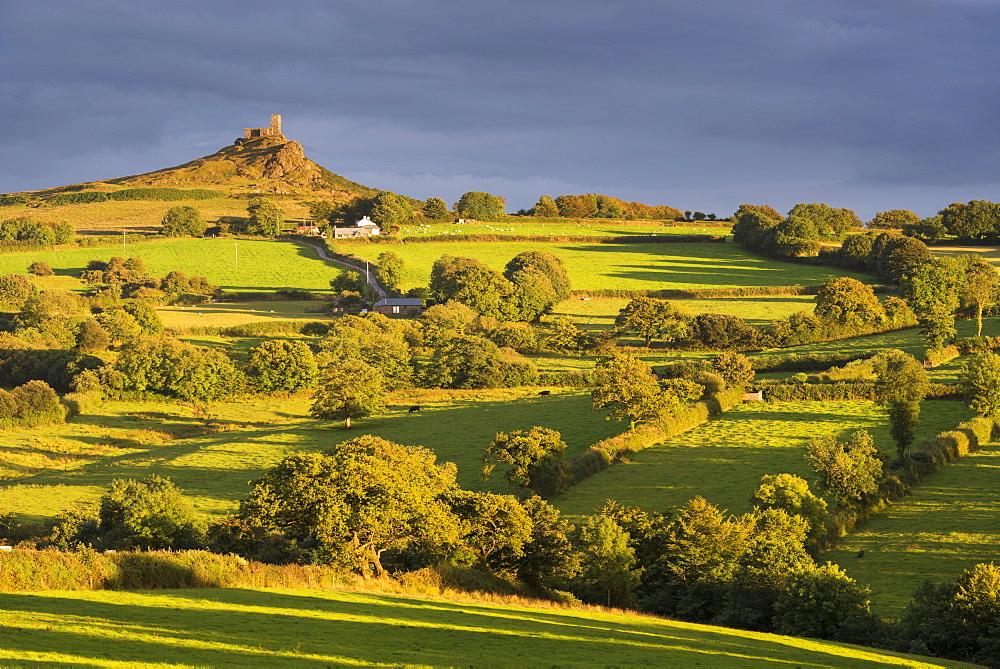 Rolling countryside below Brentor Church, Dartmoor National Park, Devon, England. Summer (August) 2016.