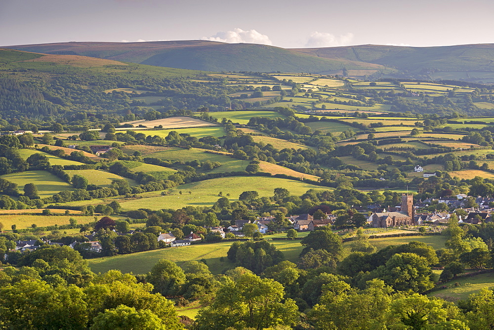 Moretonhampstead church and village surrounded by beautiful rolling countryside, Dartmoor, Devon, England. Summer (July) 2015.
