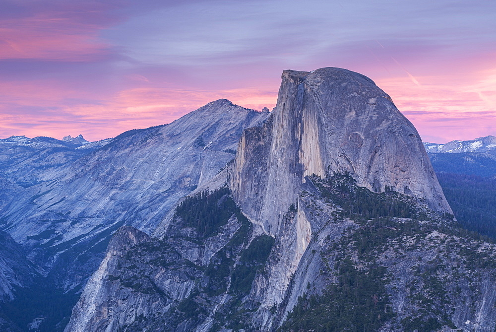 Half Dome at sunset from Glacier Point, Yosemite National Park, UNESCO World Heritage Site, California, United States of America, North America