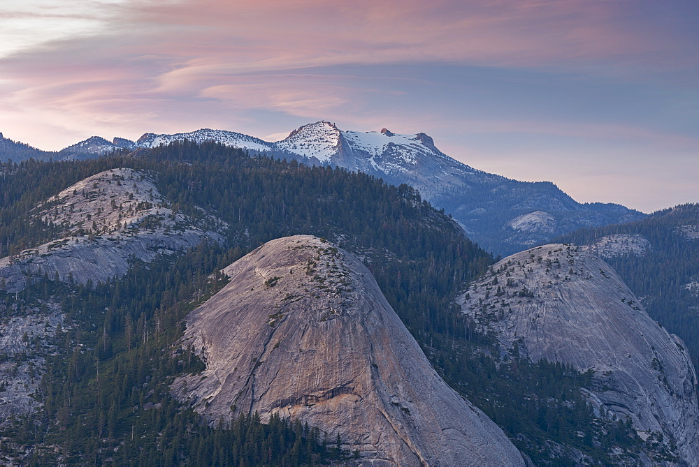 North Dome and Basket Dome with snow covered Mount Hoffmann beyond, Yosemite National Park, UNESCO World Heritage Site, California, United States of America, North America