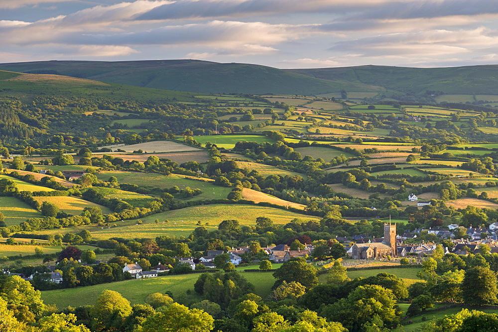 Moretonhampstead church surrounding by rolling Dartmoor countryside, Devon, England. Summer (July) 2016.