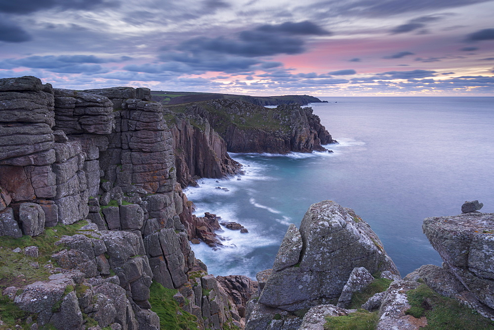 Dawn sky over Pordenack Point, Land's End, Cornwall, England, United Kingdom, Europe