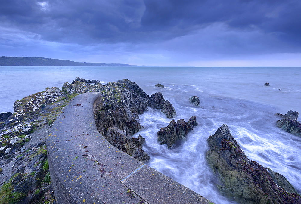 Coastal defences at Hannafore Beach near Looe, Cornwall, England, United Kingdom, Europe