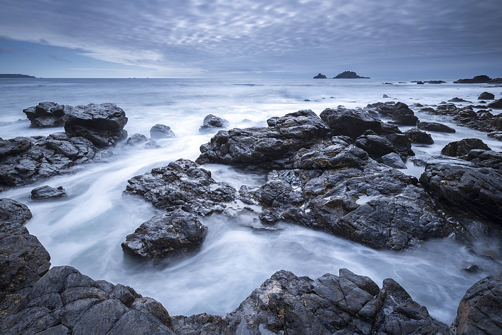 Dramatic rocky Cornish coastline at Priest's Cove, Cornwall, England, United Kingdom, Europe