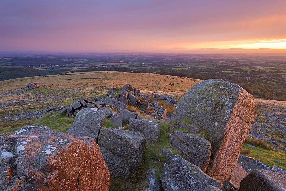 Moorland sunrise from Belstone Tor, Dartmoor National Park, Devon, England. Summer (August) 2016.