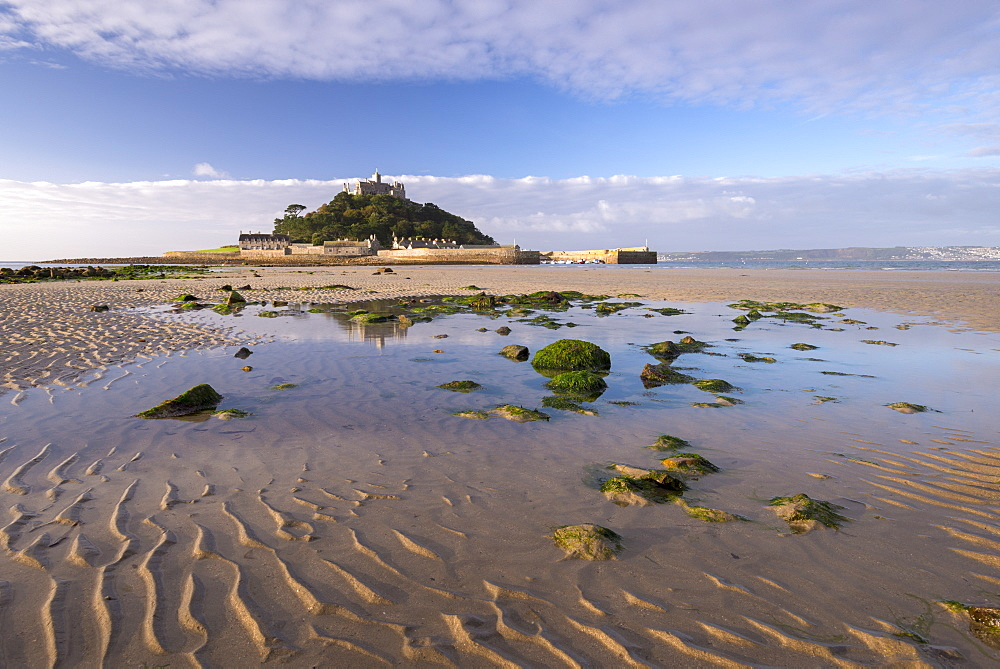 Low tide at St. Michaels Mount, Marazion, Cornwall, England, United Kingdom, Europe