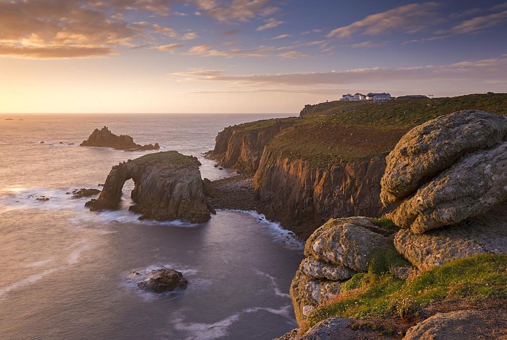 Dramatic coastal scenery at sunset, Land's End, Cornwall, England. Autumn (September) 2015.