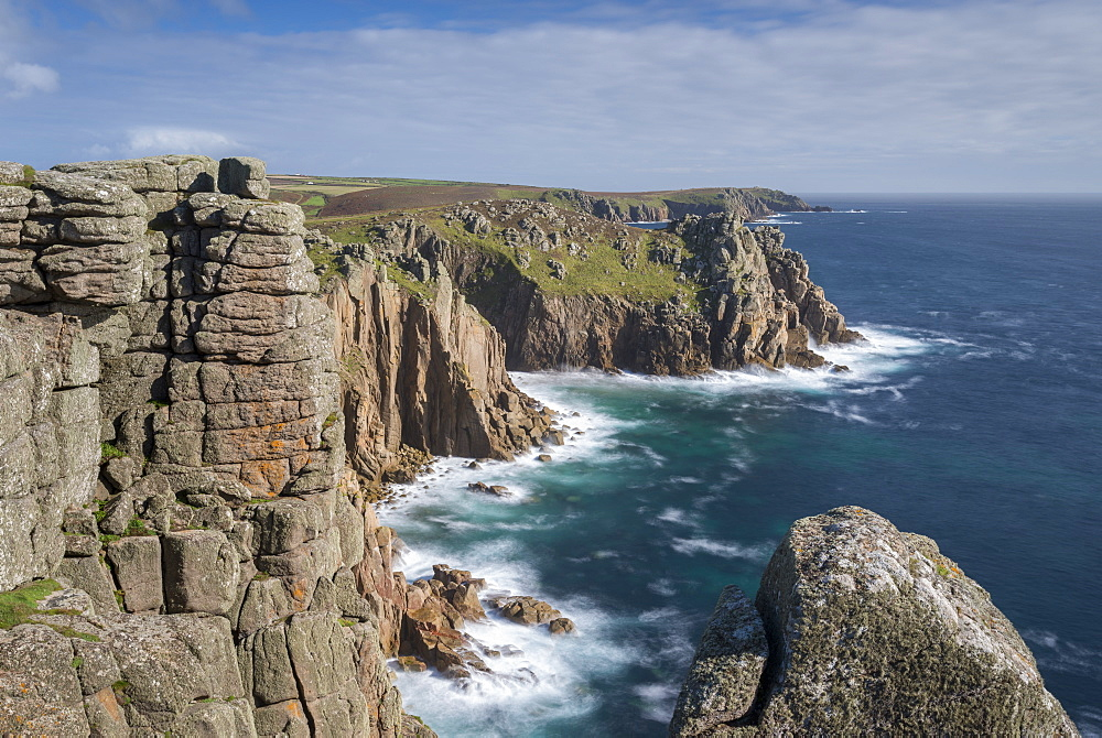 Dramatic cliff top views at Pordenack Point, Land's End, Cornwall, England, United Kingdom, Europe