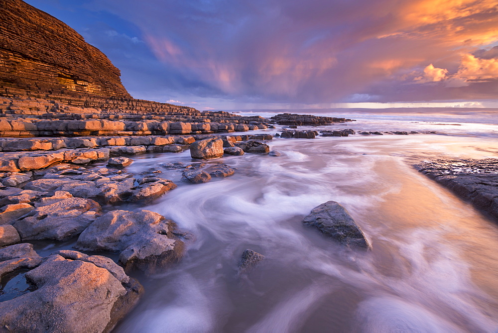 Spectacular sunset over Nash Point on the Glamorgan Heritage Coast, South Wales, United Kingdom, Europe