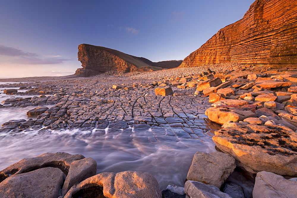 Dramatic coastal geology at Nash Point on the Glamorgan Heritage Coast, South Wales, United Kingdom, Europe