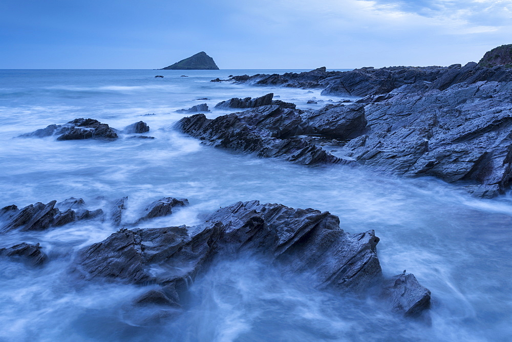 The Great Mewstone off the shore of Wembury Bay, South Hams, Devon, England. Spring (April) 2016.