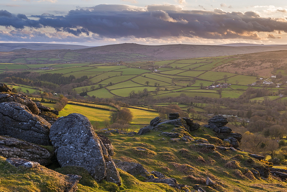 Rolling countryside near Widecombe in the Moor from Tunhill Rocks, Dartmoor, Devon, England. Spring (April) 2016.