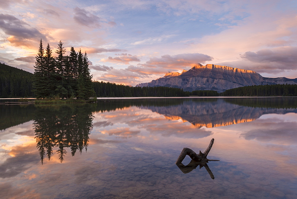 First light illuminates Mount Rundle, and reflects in Two Jack Lake, Banff National Park, UNESCO World Heritage Site, Alberta, Rocky Mountains, Canada, North America - 799-3402