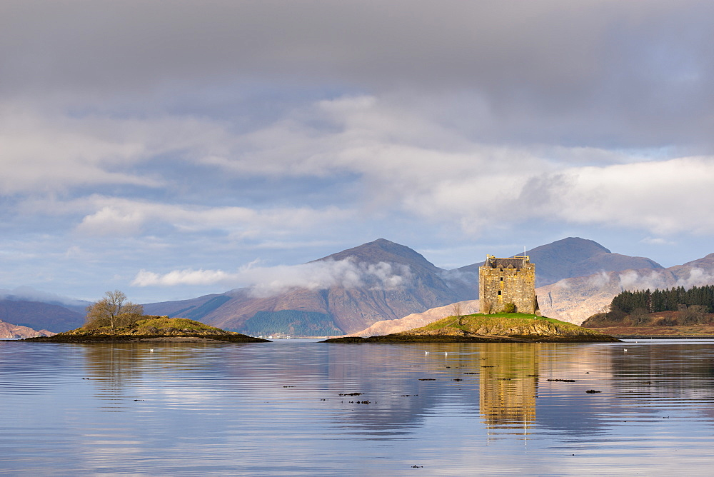 Castle Stalker reflected in Loch Linnhe, Scottish Highlands, Scotland, United Kingdom, Europe - 799-3435