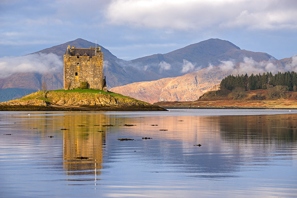 Castle Stalker reflected in Loch Linnhe in winter, Scottish Highlands, Scotland, United Kingdom, Europe - 799-3438