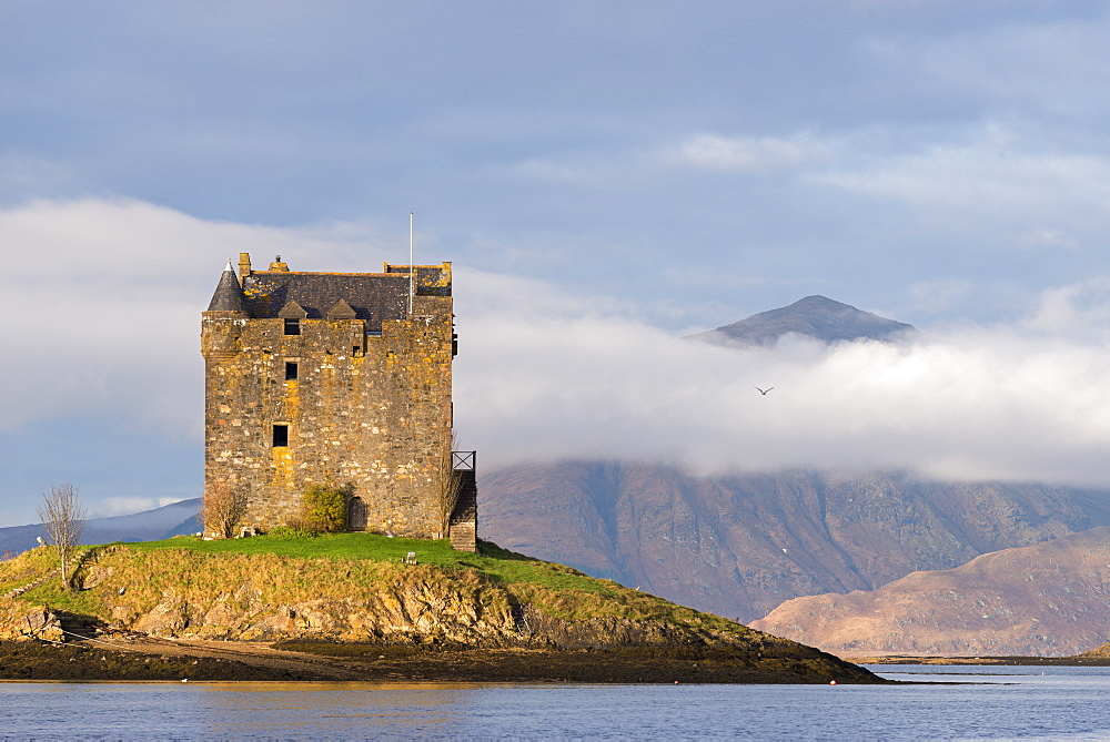 Castle Stalker on an island in Loch Linnhe, Scottish Highlands, Scotland, United Kingdom, Europe - 799-3439