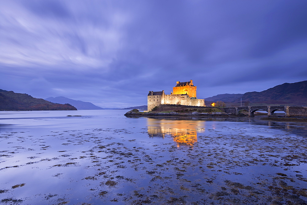 Twilight over Eilean Donan Castle on Loch Duich, Dornie, Highlands, Scotland, United Kingdom, Europe - 799-3443