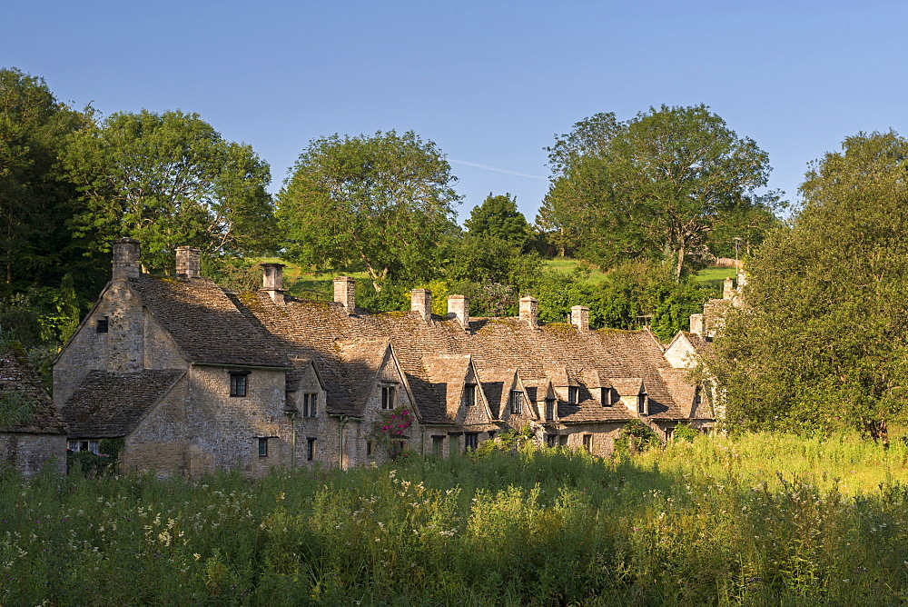 Arlington Row cottages in the Cotswold village of Bibury, Gloucestershire, England, United Kingdom, Europe - 799-3449