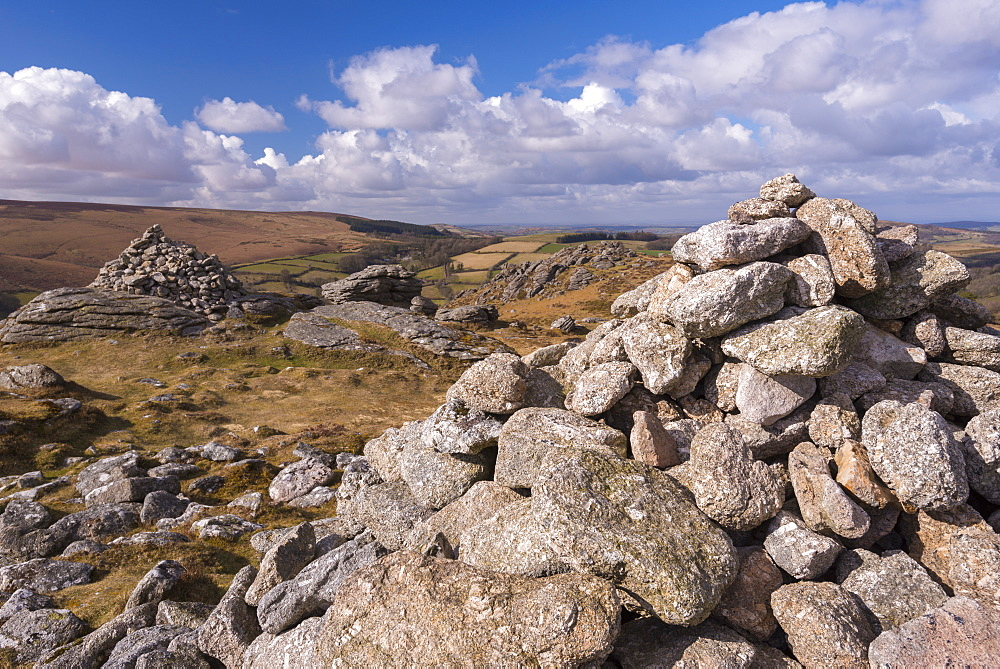 Granite stone cairns on Chinkwell Tor, Dartmoor National Park, Devon, England, United Kingdom, Europe - 799-3451