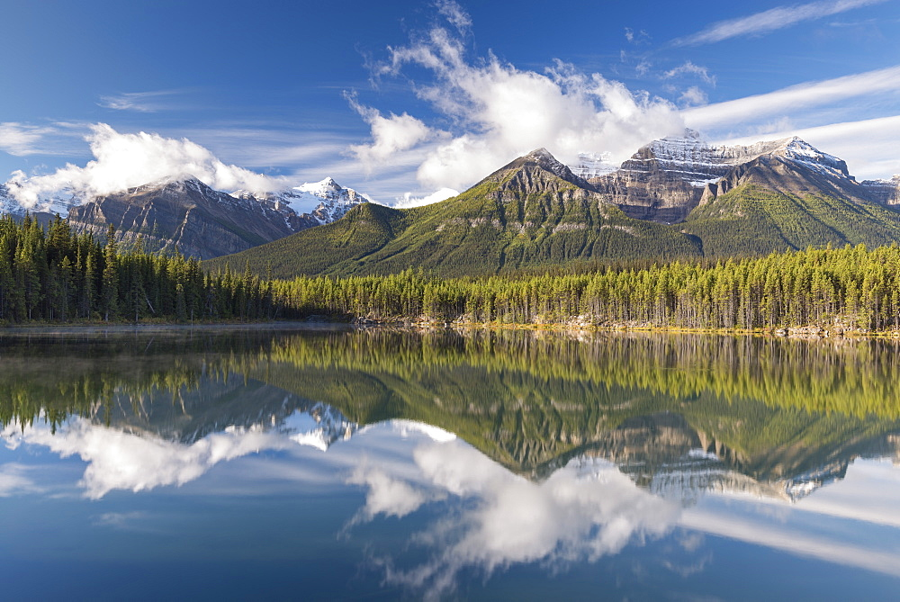 Mirror reflections at Herbert Lake in the Canadian Rockies, Banff National Park, UNESCO World Heritage Site, Alberta, Canada, North America - 799-3459