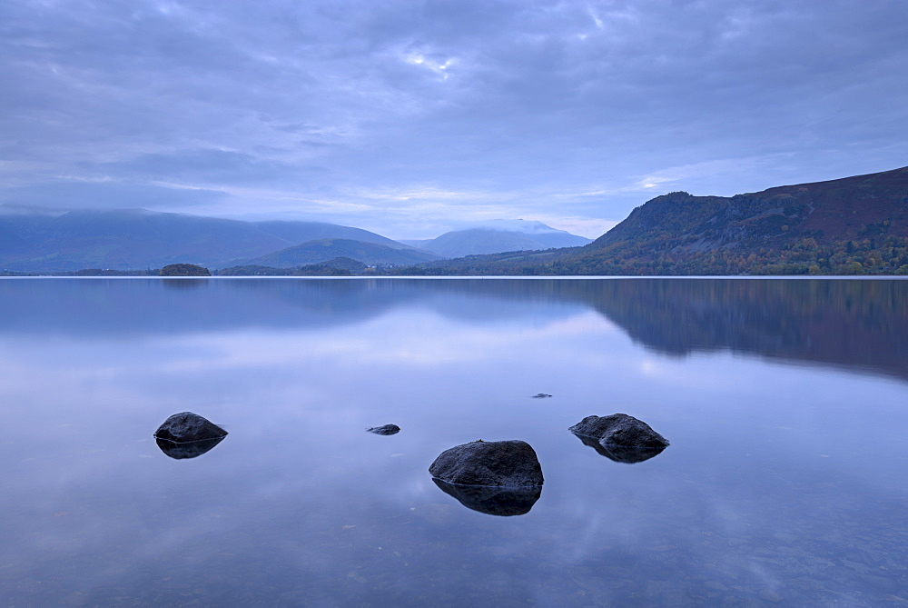 Reflections on a tranquil Derwent Water at dusk, Lake District National Park, Cumbria, England, United Kingdom, Europe - 799-3466