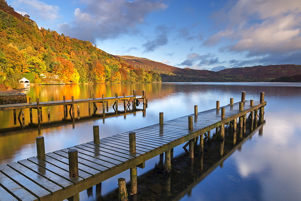 Jetties on Ullswater in the Lake District National Park, Cumbria, England, United Kingdom, Europe - 799-3474