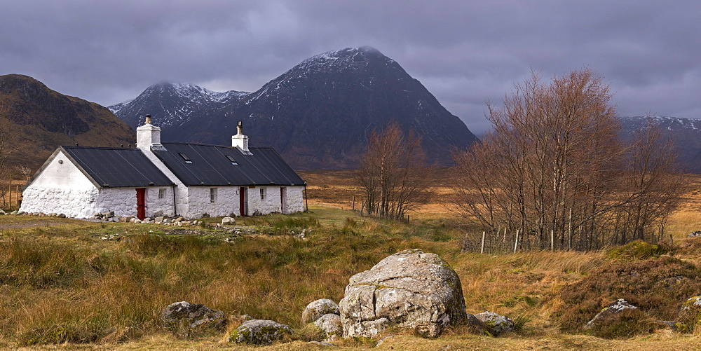 Black Rock cottage and Buachaille Etive Mor mountain on Rannoch Moor in winter, Scottish Highlands, Scotland, United Kingdom, Europe - 799-3480