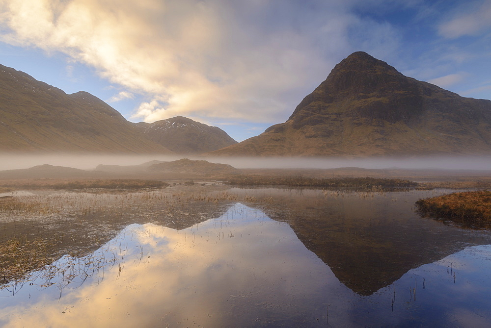 Buachaille Etive Beag reflected in Lochan na Fola at dawn, Glencoe, Scottish Highlands, Scotland, United Kingdom, Europe - 799-3482