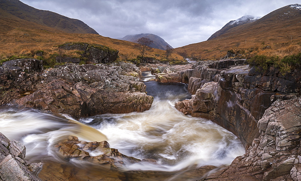 Fast flowing River Etive rushing through Glen Etive in the Scottish Highlands, Scotland, United Kingdom, Europe - 799-3487