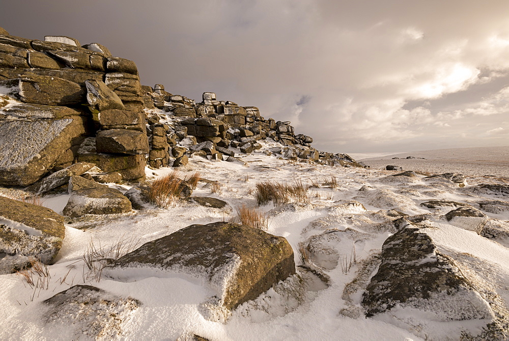 Snow covered moorland at West Mill Tor, Dartmoor National Park, Devon, England, United Kingdom, Europe - 799-3490