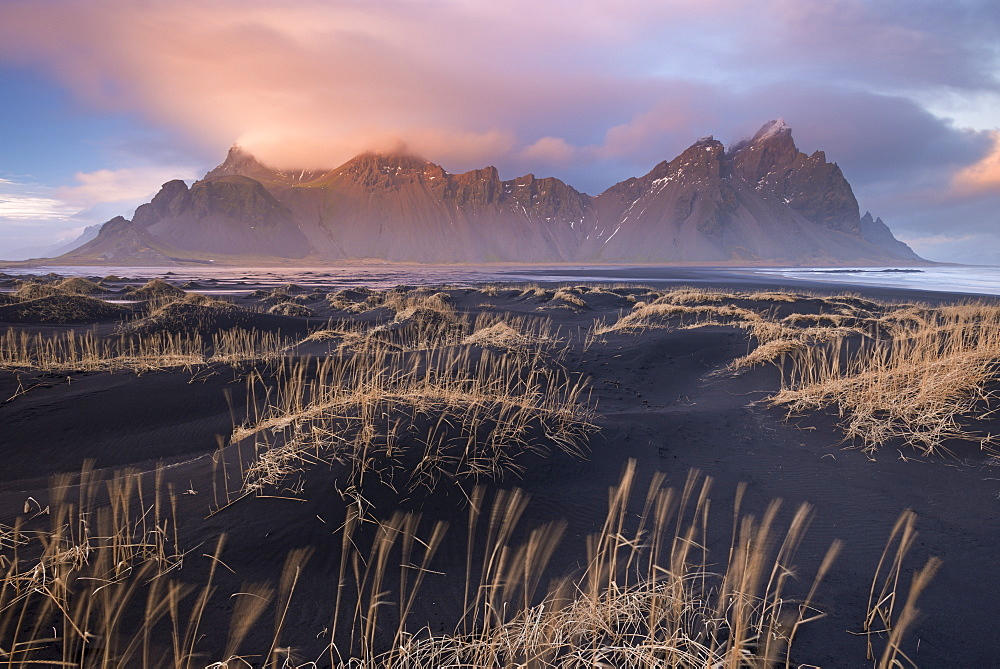 Sunset over Vestrahorn mountain on the southern coast in winter, Iceland, Polar Regions - 799-3494