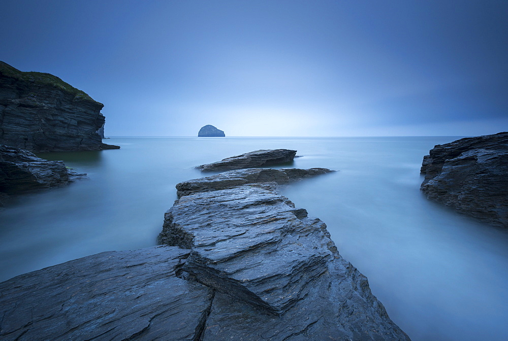 Moody overcast conditions at Trebarwith Strand in North Cornwall, England, United Kingdom, Europe