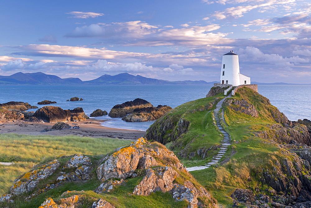 Twr Mawr lighthouse on Llanddwyn Island in Anglesey, North Wales, United Kingdom, Europe