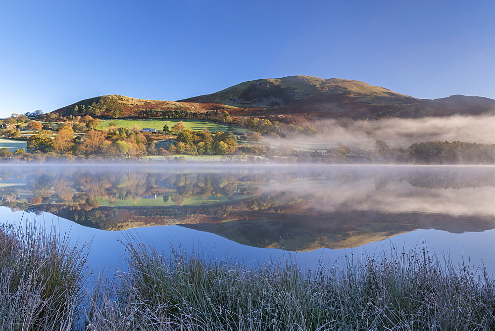 Autumnal reflections on a frosty morning at Loweswater in the Lake District National Park, Cumbria, England, United Kingdom, Europe