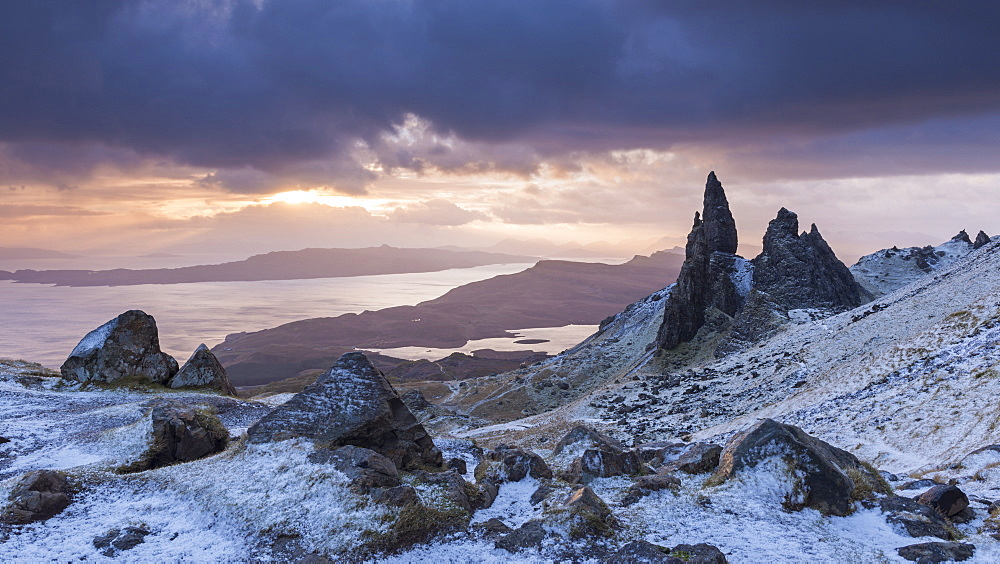 Sunrise over a frozen winter landscape at the Old Man of Storr on the Isle of Skye, Inner Hebrides, Scotland, United Kingdom, Europe