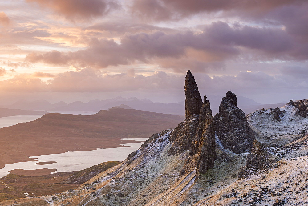 Sunrise over a frozen mountain landscape at the Old Man of Storr on the Isle of Skye, Inner Hebrides, Scotland, United Kingdom, Europe