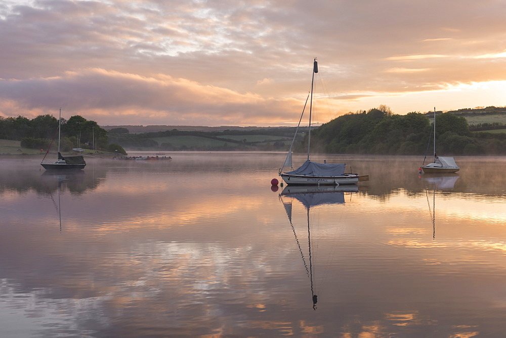 Boats on Wimbleball Reservoir on a beautiful misty morning at sunrise, Exmoor National Park, Somerset, England, United Kingdom, Europe - 799-3523