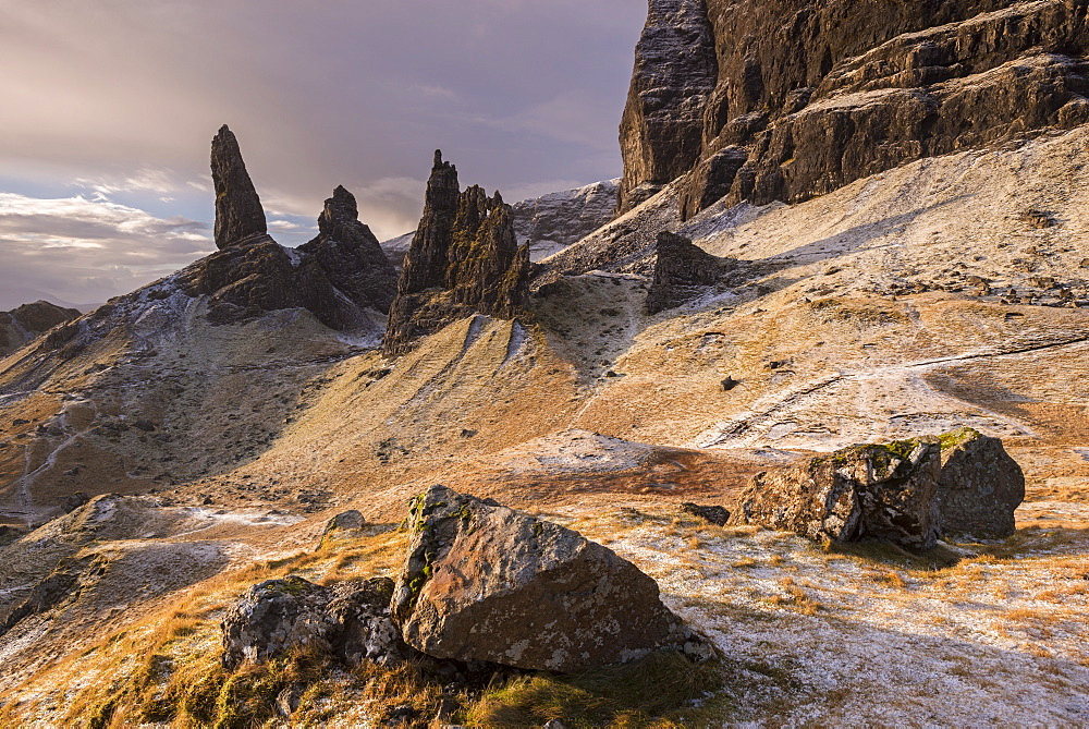 Frozen winter landscape at the Old Man of Storr on the Isle of Skye, Inner Hebrides, Scotland, United Kingdom, Europe