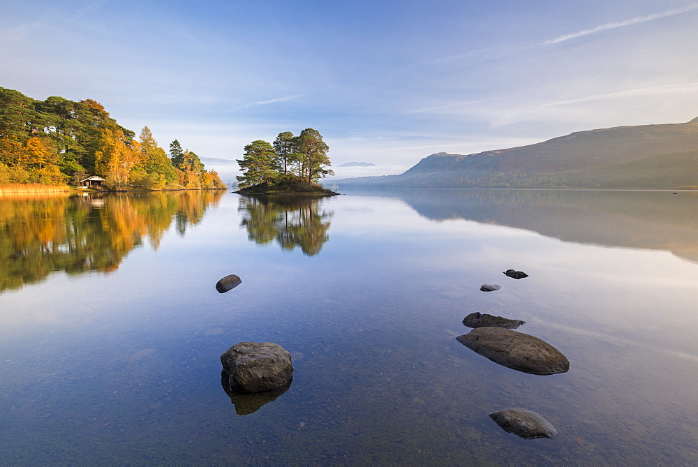 Reflections on Derwent Water on a sunny autumnal morning, Lake District National Park, Cumbria, England, United Kingdom, Europe - 799-3527