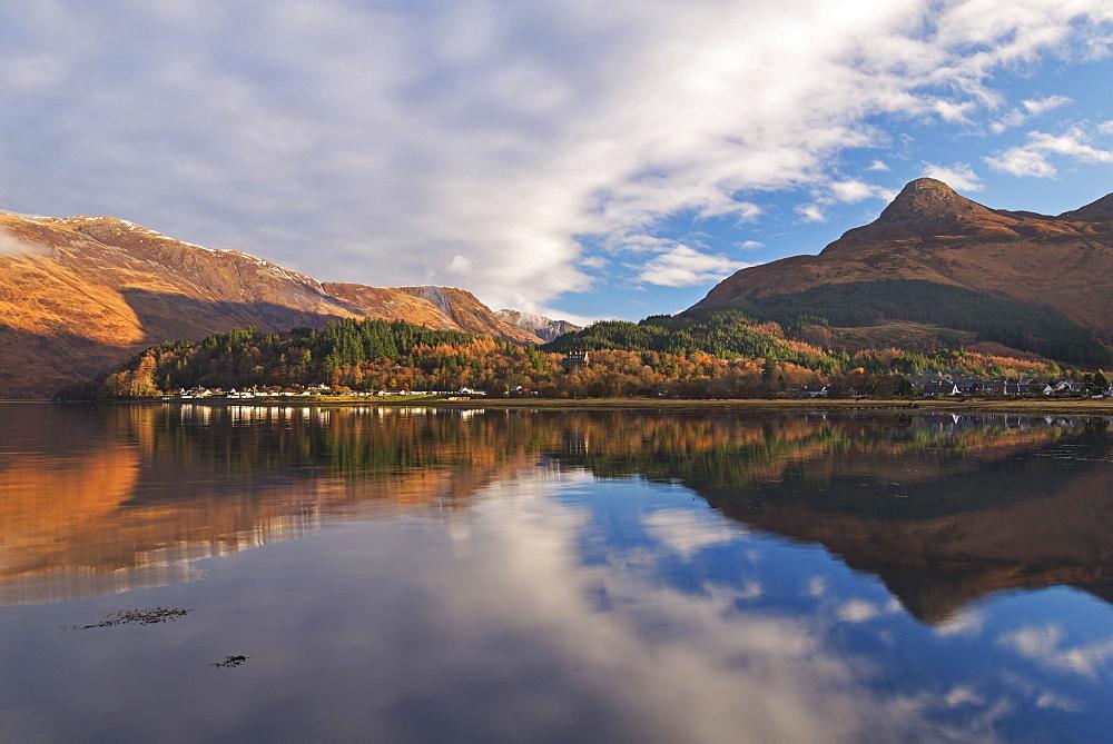 Glencoe village from across Loch Leven, Glencoe, Highlands, Scotland, United Kingdom, Europe - 799-3530