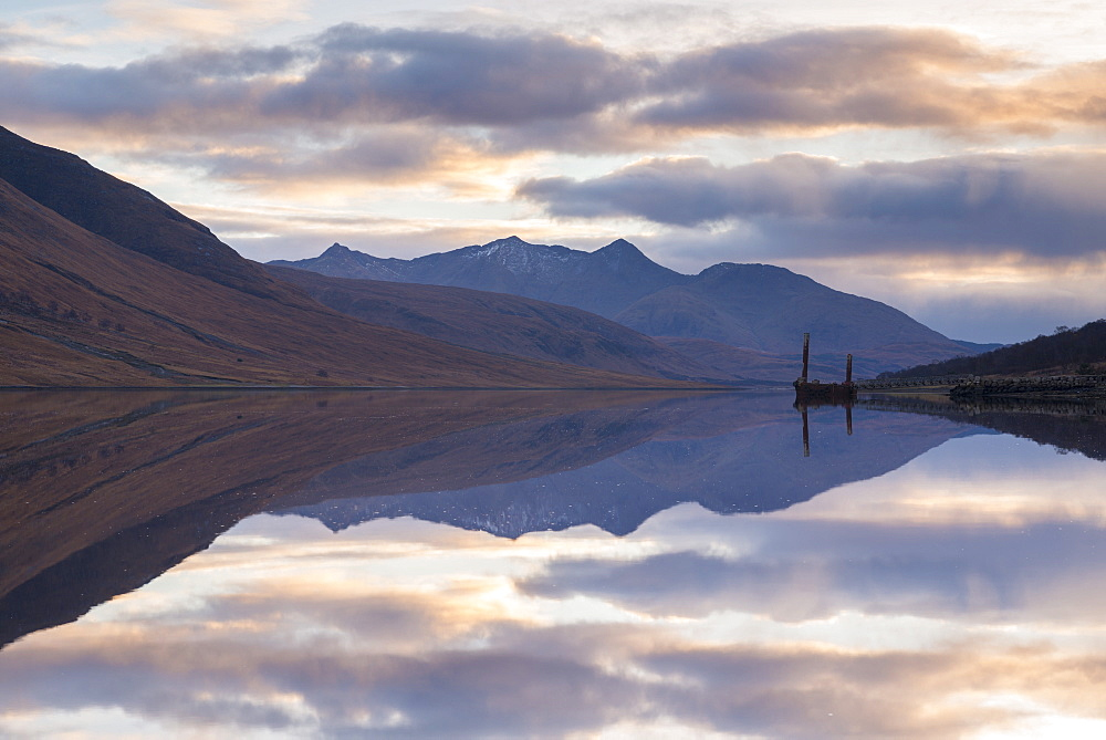 Reflections of mountains in Loch Etive at sunset, Glen Etive, Highlands, Scotland, United Kingdom, Europe - 799-3534