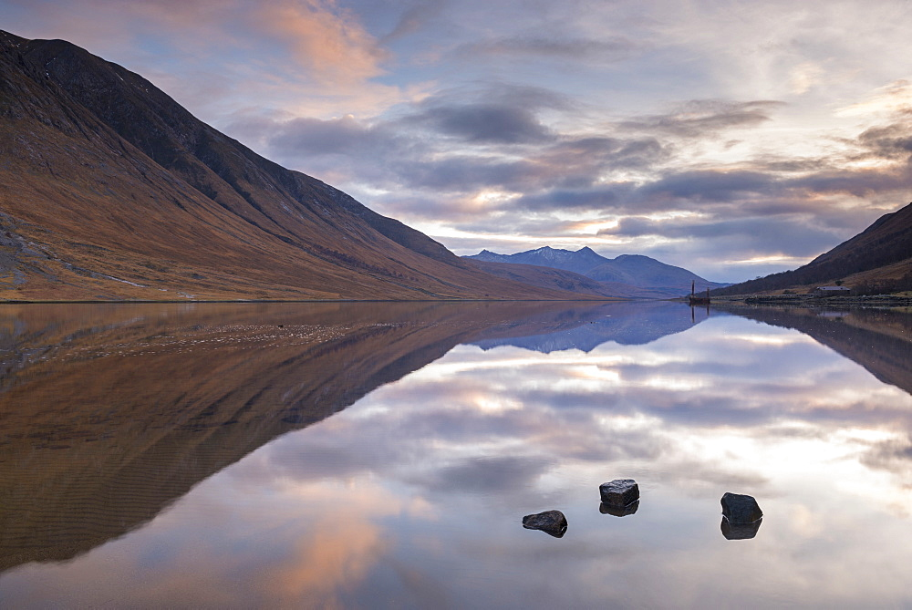 Reflections on Loch Etive at sunset in winter, Glen Etive, Highlands, Scotland, United Kingdom, Europe - 799-3538