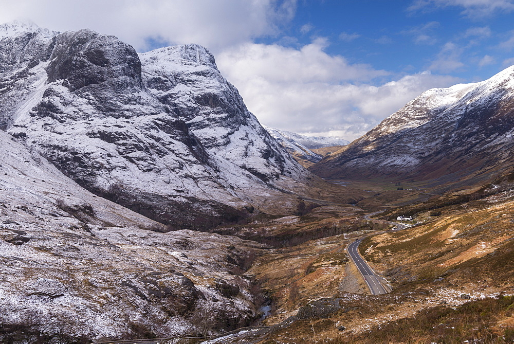 Looking down the pass of Glencoe with snow over the Three Sisters of Glencoe, Highland, Scotland, United Kingdom, Europe - 799-3555