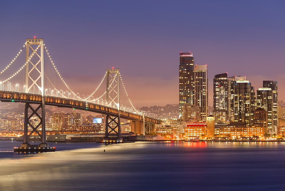 Oakland Bay Bridge and city skyline at night, San Francisco, California, United States of America, North America