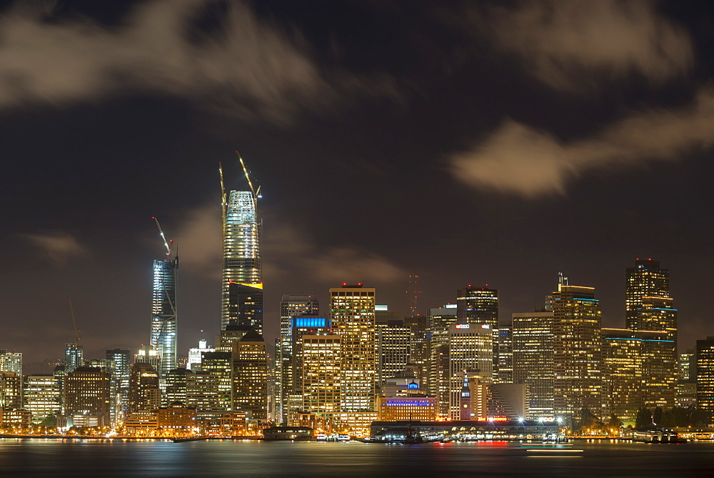 San Francisco skyscraper night-time cityscape, San Francisco, California, United States of America, North America