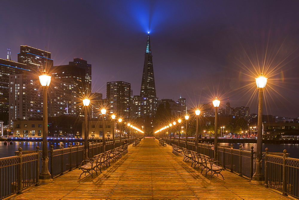 Night time illuminations on the Transamerica Pyramid from Pier 7 in San Francisco, California, United States of America, North America