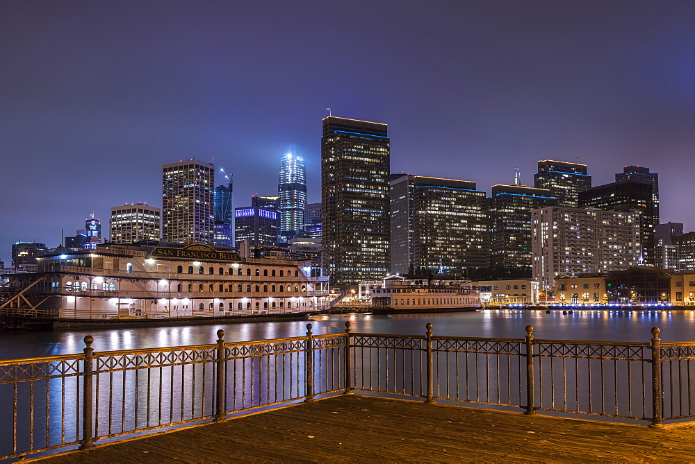 Night time San Francisco cityscape from Pier 7, San Francisco, California, United States of America, North America