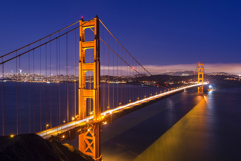 Golden Gate Bridge illuminated at night, San Francisco, California, United States of America, North America