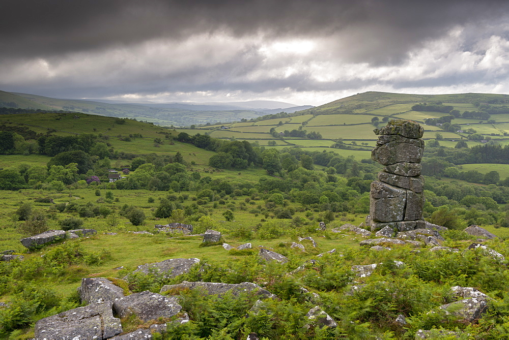 Moody sky over Bowerman's Nose in Dartmoor National Park, Devon, England, United Kingdom, Europe