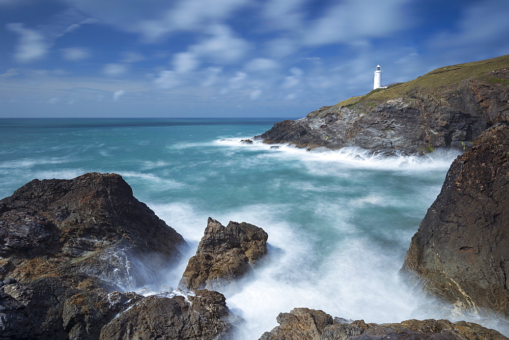 Trevose Head lighthouse on the north coast of Cornwall, England, United Kingdom, Europe
